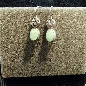 Avon drop earrings sterling silver Jade